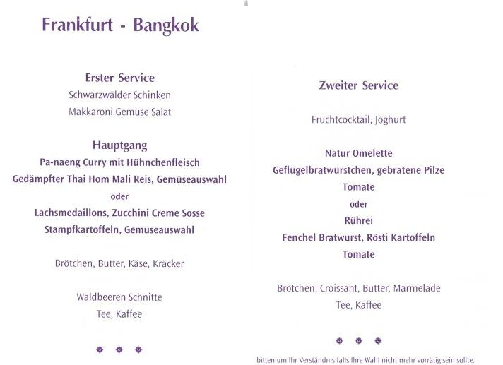 Menükarte Thai Airways - Frankfurt - Bangkok